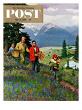 """""""Hiking in Mountains"""" Saturday Evening Post Cover  May 31  1952"""