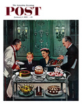 """Dessert Cart"" Saturday Evening Post Cover  January 1  1955"