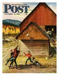 """""""Ranch Basketball"""" Saturday Evening Post Cover  November 11  1950"""