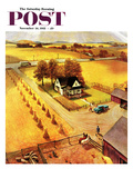 """""""Thanksgiving on the Farm"""" Saturday Evening Post Cover  November 26  1955"""