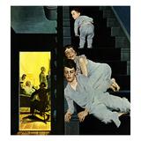 """Eavesdroppin on Grownups"", December 2, 1950 Giclée par George Hughes"