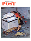 """Frosty in the Freezer"" Saturday Evening Post Cover  February 21  1959"