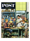 """Shop Class"" Saturday Evening Post Cover  March 19  1955"