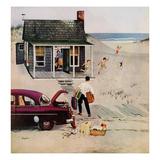 """First Day at the Beach"", August 11, 1956 Giclée par George Hughes"
