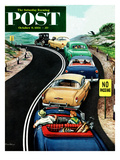 """No Passing"" Saturday Evening Post Cover  October 9  1954"