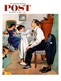 """""""Fixing Father's Tie"""" Saturday Evening Post Cover  December 31  1955"""