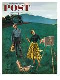 """Farmer and Female Artist in Field"" Saturday Evening Post Cover  June 6  1953"