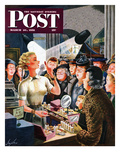 """""""Makeup Counter"""" Saturday Evening Post Cover  March 10  1951"""