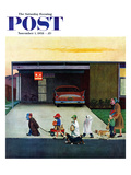 """Trick-Or-Treating in the Burbs"" Saturday Evening Post Cover  November 1  1958"
