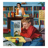 """""""Frog in the Library"""", February 25, 1956 Giclée par Richard Sargent"""