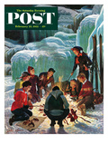 """Apres Ski Bonfire"" Saturday Evening Post Cover  February 23  1952"