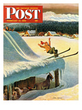 """Barn Skiing"" Saturday Evening Post Cover  February 17  1951"