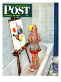 """""""Artist in the Bathtub"""" Saturday Evening Post Cover  October 28  1950"""