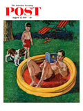 """Wading Pool"" Saturday Evening Post Cover  August 27  1955"