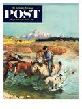 """Herding Horses"" Saturday Evening Post Cover  September 13  1952"