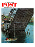 """Drawbridge"" Saturday Evening Post Cover  September 22  1956"