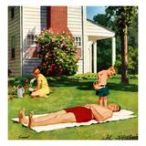 """""""Watering Father"""", June 4, 1955 Giclée par Richard Sargent"""