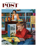 """Frog in the Library"" Saturday Evening Post Cover  February 25  1956"