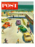 """Flat Tire at the Beach"" Saturday Evening Post Cover  July 23  1955"