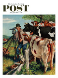 """Surveying the Cow Pasture"" Saturday Evening Post Cover  July 28  1956"