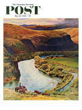 """""""Yakima River Cattle Roundup"""" Saturday Evening Post Cover  May 10  1958"""