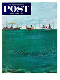 """School of Fish Among Lines"" Saturday Evening Post Cover  August 7  1954"