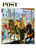 """Amusement Park Carousel"" Saturday Evening Post Cover  August 9  1958"