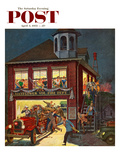 """Fireman's Ball"" Saturday Evening Post Cover  April 3  1954"