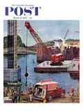 """Bridge Construction"" Saturday Evening Post Cover  March 9  1957"