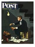 """Brown Shoes to Black"" Saturday Evening Post Cover, November 4, 1950 Giclée par George Hughes"