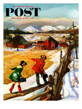 """""""Walking on the Fence"""" Saturday Evening Post Cover  December 4  1954"""