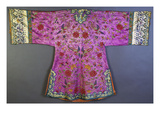 An Informal Robe of Mauve Satin Woven with a Floral Damask Repeat  Embroidered with Pheasants …