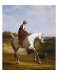 Miss Cazenove on a Grey Hunter  a Dog Running Alongside