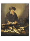 A Fishmonger Holding a Pike  with Bream  Perch and Other Fish on a Ledge