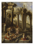 Capricci of Classical Ruins with Water Carriers, Philosophers and Noblemen (Left Panel) Giclée par Giovanni Ghisolfi (Circle Of)