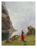 A Girl with Goats by a Fjord Giclée par Hans Dahl