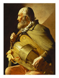 A Blind Hurdy-Gurdy Player  Seated Three-Quarter Length  in Profile to the Left