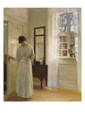 A Lady Looking in a Mirror by an Open Door