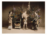 Japan  Japanese Women and Man Flower Arranging
