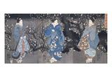 An Oban Triptych Depicting a Nocturnal Scene with Three Bijin Giclée par Kuniyoshi Utagawa