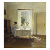 A Woman Seated at a Table by a Window