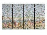 A Set of Four Chinese Painted Wallpaper Panels Depicting Chinese Figures in a Garden with Bamboo…