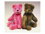A Pink Schuco Scent Bottle Teddy Bearand a Green Schuco Compact Teddy Bear