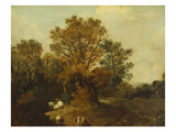 A Wooded Landscape with Faggot Gatherers by a Path  a White Horse Tethered Beyond