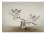 Two Fairies Playing See-Saw on a Needle Resting on a Thimble