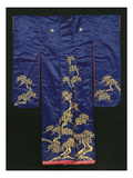 A Wedding Furisode of Midnight Blue Satin  Embroidered with Pine Trees in Couched Gilt Threads …