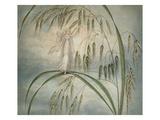 A Fairy Waving Her Wand Standing Among Blades of Grass