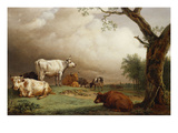 Cattle in a Field  with Travellers in a Wagon on a Track Beyond and a Church Tower in the…