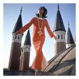 Vogue - December 1966 - Orange Christian Dior Dress