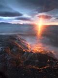 Midnight Sun over Vågsfjorden  Skånland  Troms County  Norway